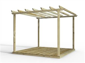 Discount Decking Kit With Pergola 2.4m x 2.4m (No Handrails)