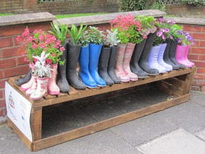 Turn your old Wellies into Colourful Planters