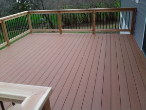 A lovely outdoor decking area using composite decking boards