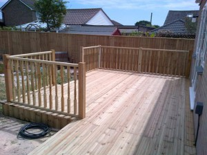 Beautiful Hardwood Decking installation in the back garden