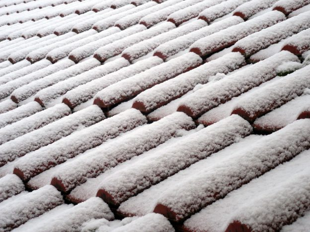Winter Roof Covered in Snow