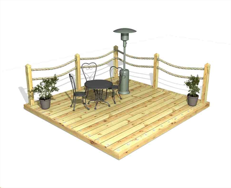 Decking kit with rope handrails
