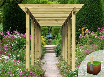 Heavy Duty Royal Walkway Pergola With Super Rafters (7.2m x 2.4m)