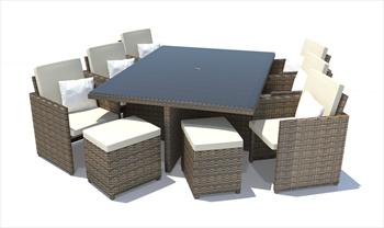 Napoli 11 Piece Rattan Cube Set (Brown Wicker / White Cushions)