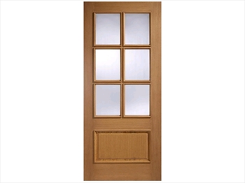 Cantabria Glazed 1 Panel / 6L Oak Door (Imperial)