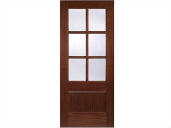 Zurich Glazed 1 Panel / 6L Walnut Door (Imperial)