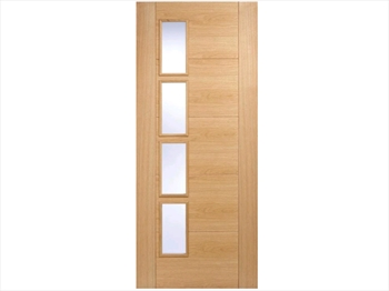 Vancouver Glazed 4L Offset Oak Door (Imperial)