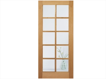 SA Clear Glazed 10L White Oak Door (Imperial)