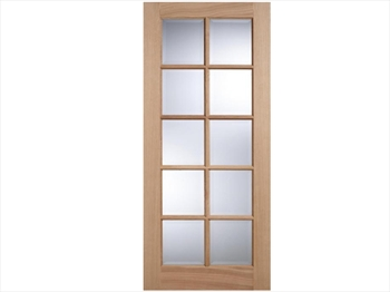SA Clear Bevelled Glazed 10L White Oak Door (Imperial)