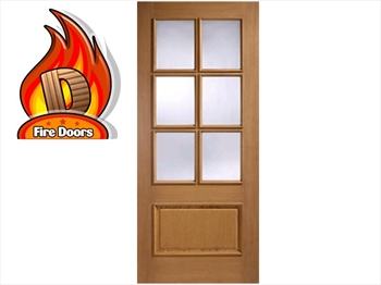 Cantabria Glazed 1 Panel / 6L Oak Fire Door (Imperial)