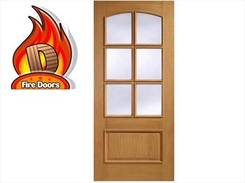 Menorca Glazed 1 Panel / 6L Oak Fire Door (Imperial)