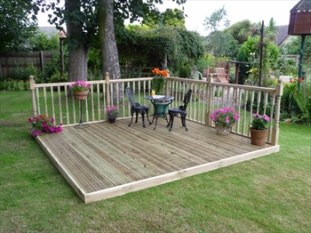Easy Deck Patio Kit 2.4m x 2.4m (With Handrails)