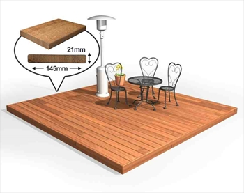 Hardwood 145mm Balau Deck Kit 3m x 3m (No Handrails)