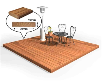 Hardwood 90mm Balau Deck Kit 3m x 3m (No Handrails)