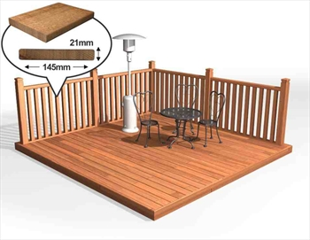* Hardwood 145mm Balau Deck Kit 3.6m x 3.6m (With Handrails)
