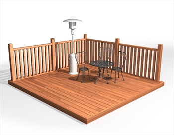 * Hardwood 90mm Balau Deck Kit 4.2m x 4.2m (With Handrails)