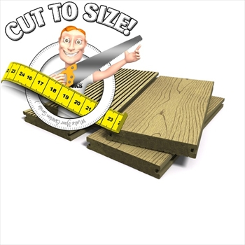 * Cut to size * Teak Solid Bark Effect Composite Decking (146mm x 21mm)