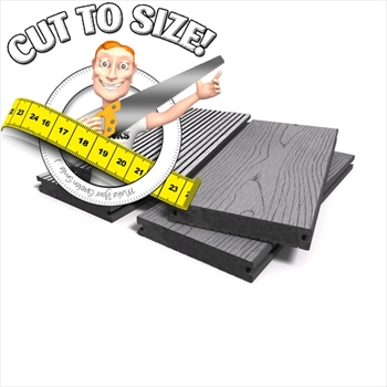 * Cut to size * Grey Bark Effect Solid Composite Decking (146mm x 21mm)