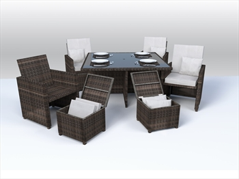 Ledbury 9 Piece Rattan Cube Set (Brown Wicker / Beige Cushions)