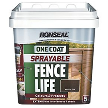 Ronseal One Coat Sprayable Fence LIfe 5 Litres (Medium Oak)