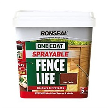 Ronseal One Coat Sprayable Fence Life 5 Litres (Red Cedar)