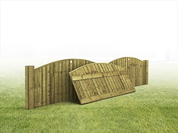 "Heavy Duty Arched Vertilap Featheredge Fence Panel (6ft x 2ft-2ft 6"")"