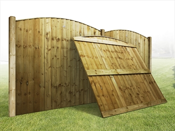 "Heavy Duty Arched Vertilap Featheredge Fence Panel (6ft x 4ft-4ft 6"")"