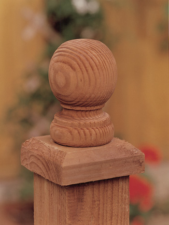 Ball Finial Fence Cap Brown