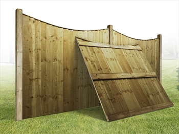 "Heavy Duty Curved Vertilap Featheredge Fence Panel (6ft x 3ft-2ft 6"")"