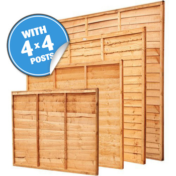 "Pack Of 6 Overlap Panels & 4"" Posts 38ft 4"" x 6ft"