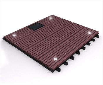 eDecks Composite Deck Tile With LED's (Redwood)