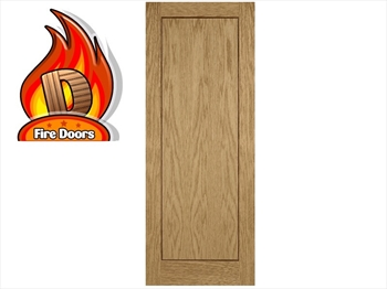 Single Panel Oak Inlay Pre-Finished Fire Door (Imperial)