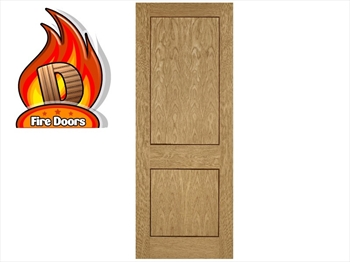2 Panel Oak Inlay Pre-Finished Fire Door (Imperial)