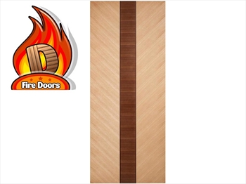 Cava Oak With Walnut Inset Flush Fire Door (Imperial)