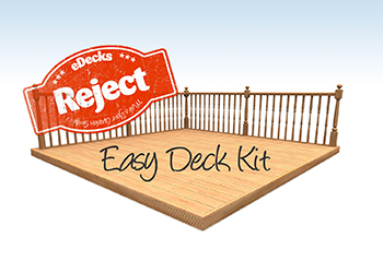 3.0m x 2.4m Reject Dual Sided Larch Decking Kit (With Handrails)