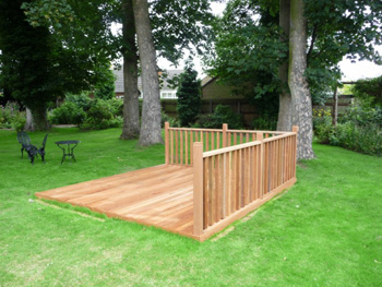 2.4m x 2.4m Hardwood Balau Deck Kit 90mm (With Handrails)