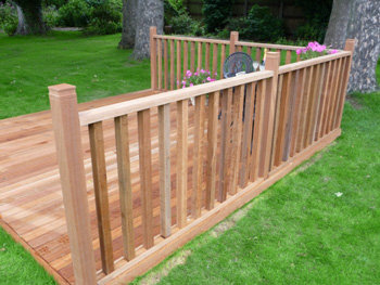 3.6m x 3.6m Hardwood Balau Deck Kit 90mm (With Handrails)