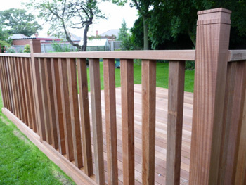 3.0m x 3.0m Hardwood Balau Deck Kit 145mm (With Handrails)