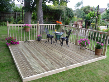 3.6m x 4.2m Easy Deck Patio Kit (With Handrails)
