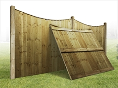 "Heavy Duty Curved Vertilap Featheredge Fence Panel (6ft x 5ft-4ft 6"")"