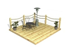 Deck Kits With Rope Handrail Systems