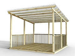 Discount Deck Kit With Pergola and Vistalux Roof